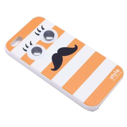 ΘΗΚΗ IPHONE 5/5S/SE BACK COVER MUSTACHE ΠΟΡΤΟΚΑΛΙ