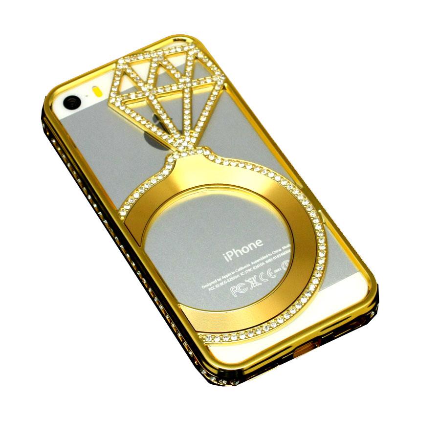 ΘΗΚΗ IPHONE 5/5S/SE BACK COVER STRASS LUXURY GEMS ΧΡΥΣΟ